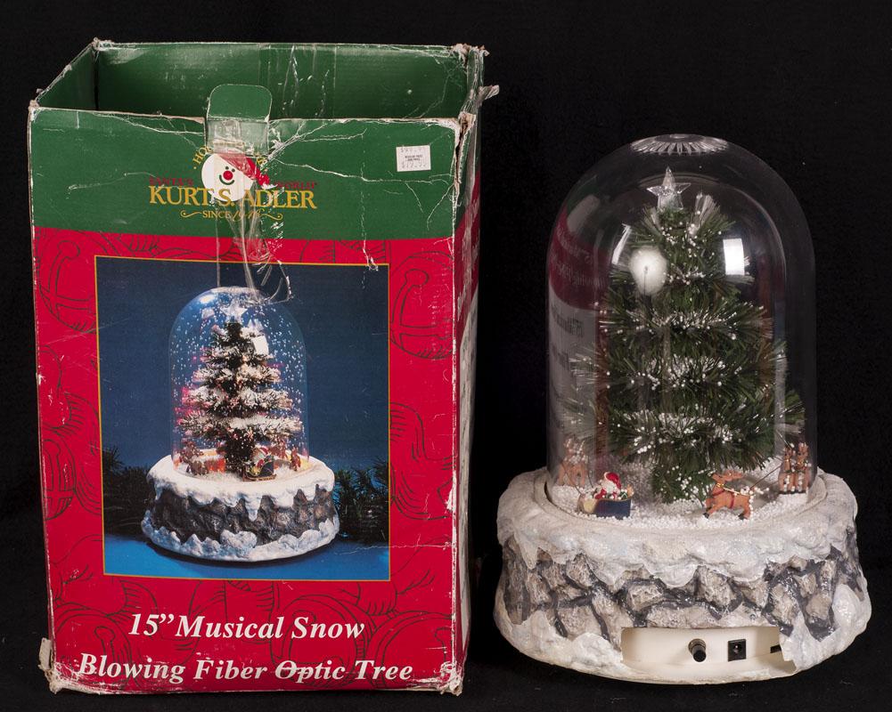"Kurt Adler 15"" Snow Blowing Fiber Optic Christmas Tree"