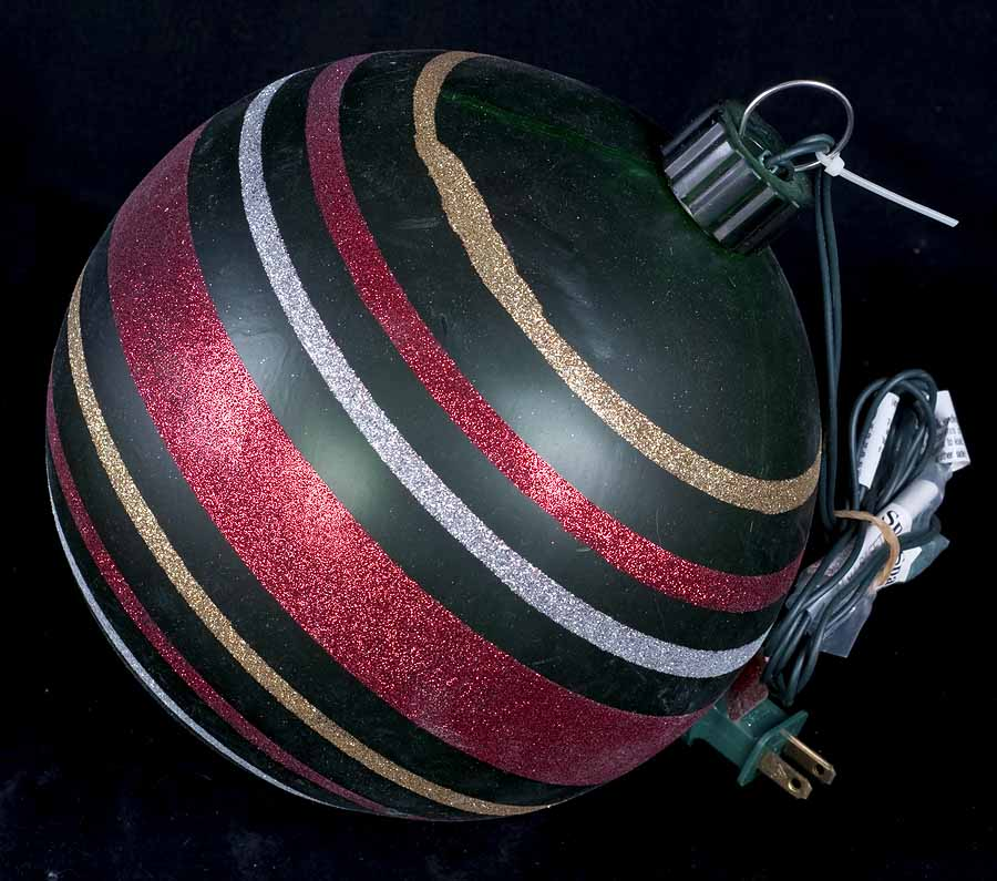 Large 9 green stripe indoor outdoor lighted ornament for Large outdoor light up christmas ornaments