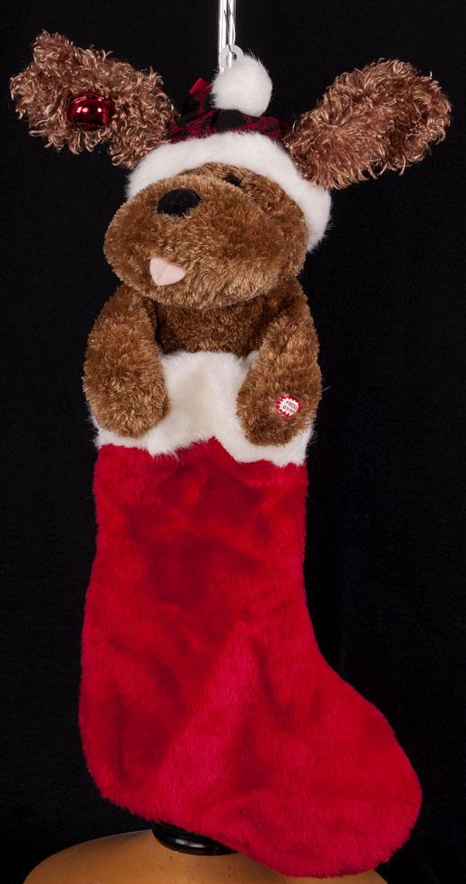 Animated Musical Singing Dog Christmas Stocking