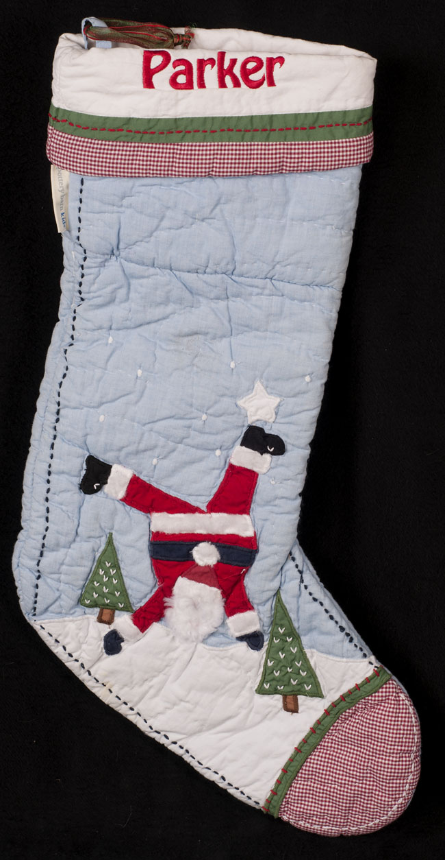 pottery barn kids christmas stocking blue quilted santa. Black Bedroom Furniture Sets. Home Design Ideas