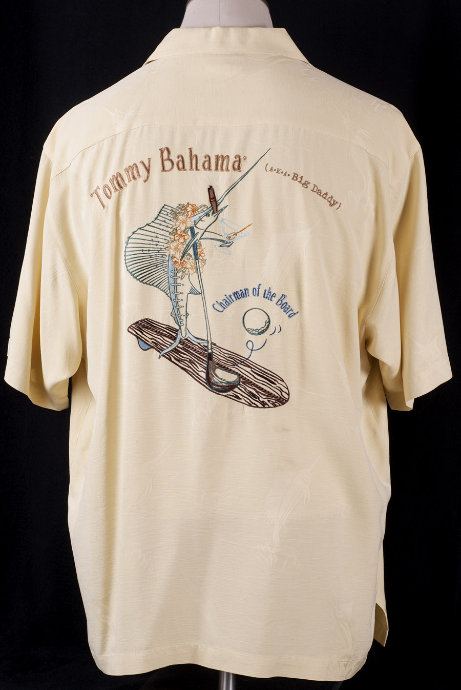 yellow chairman of the board big daddy swordfish camp shirt l ebay