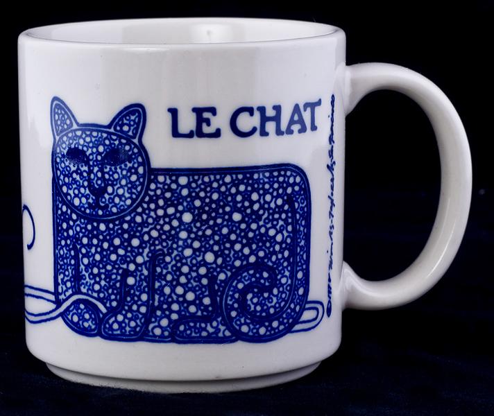 Le Chat Noir Boutique Taylor Ng Cat Cobalt Blue Coffee Mug Vintage 78 Misc