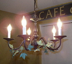 Find out how to create this faux wrought iron chandelier here!