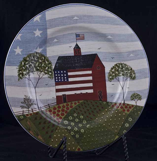 Le Chat Noir Boutique Sakura Warren Kimble AMERICA THE BEAUTIFUL Salad Dessert Plate Barn Flag Sakura Misc. Patterns SakuraWKABSPRedBarnFlag : warren kimble dinnerware - Pezcame.Com