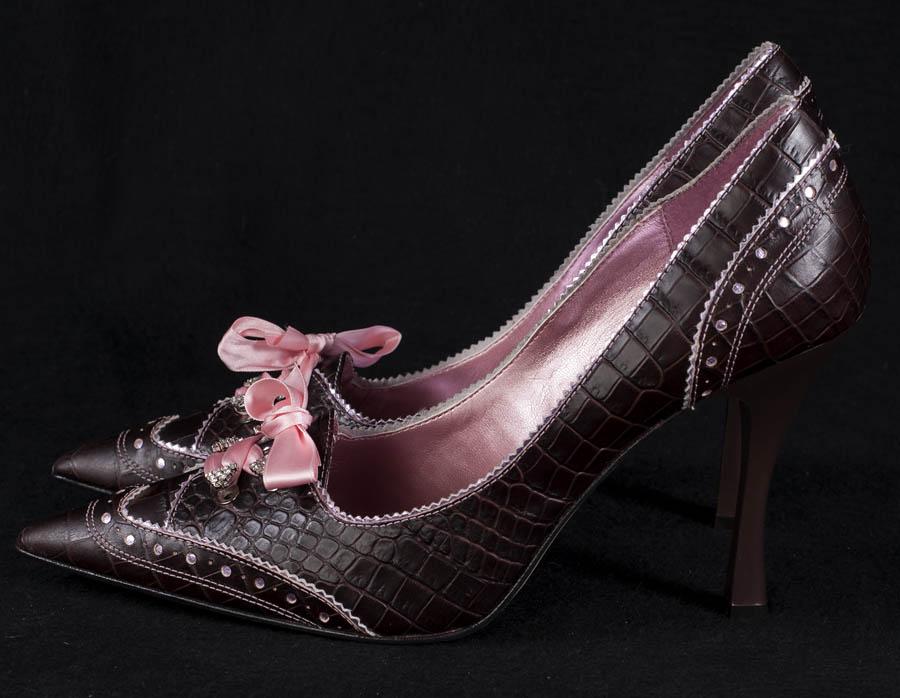 hype womens heel shoes brown alligator flirty pink