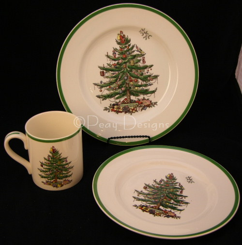 Christmas Tree Dinner Plate + Lunch Plate + Mug & Le Chat Noir Boutique: Spode CHRISTMAS TREE 3pc Set PLATES + MUG ...