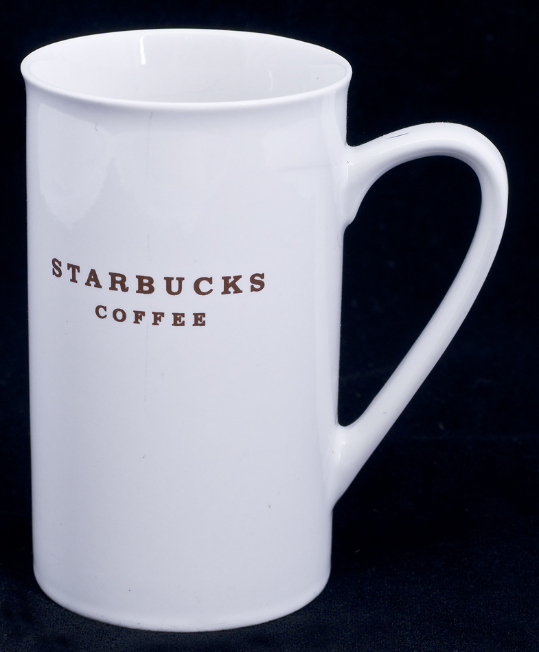Tall Cuccino Coffee Mug Vintage Le Chat Noir Boutique Starbucks Cafe Brown Letters