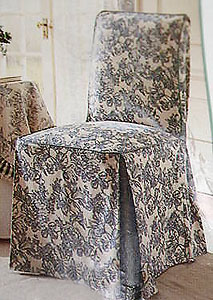 Waverly Blue Garden FLORAL TOILE Chair SLIPCOVER NEW EBay