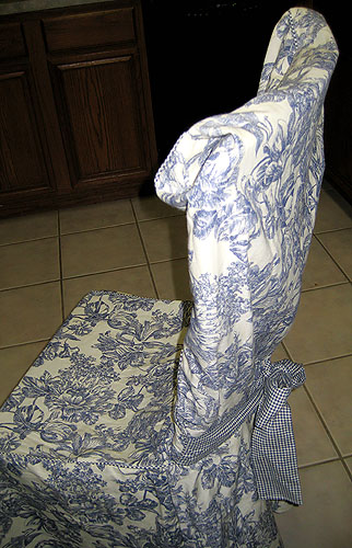 dining room chair slipcovers floral design | Waverly Blue Garden FLORAL TOILE Chair SLIPCOVER - NEW | eBay